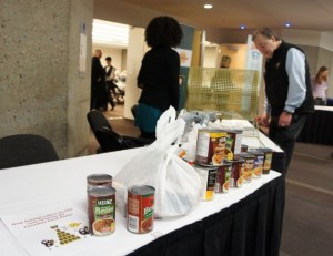 FMI program to collect Beans for the foodbank.  Set up outside of the salons by the registration tables.