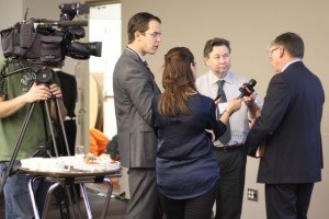 Media scrum after the political panel completed their segment.