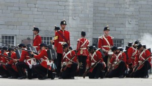 Fort Henry Guard reenact a training exercise.  Author's collection.