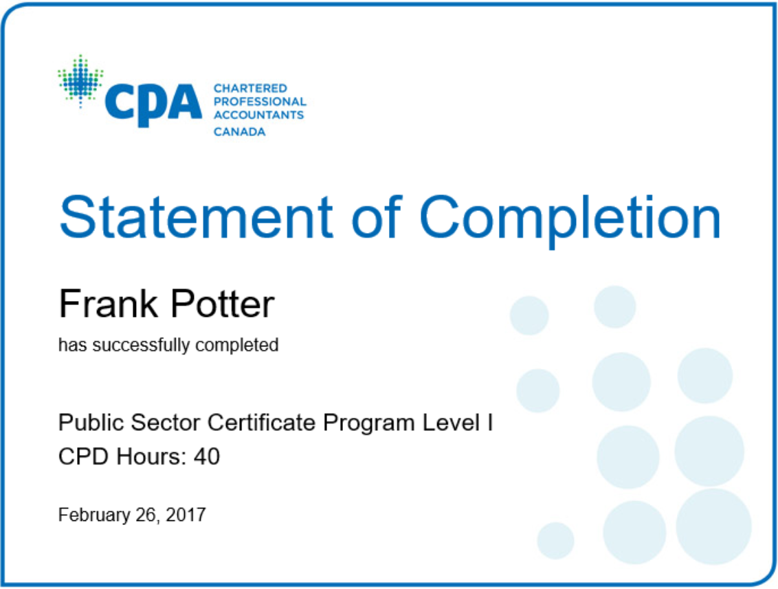Cpa Public Sector Certificate Program Level I Organizational